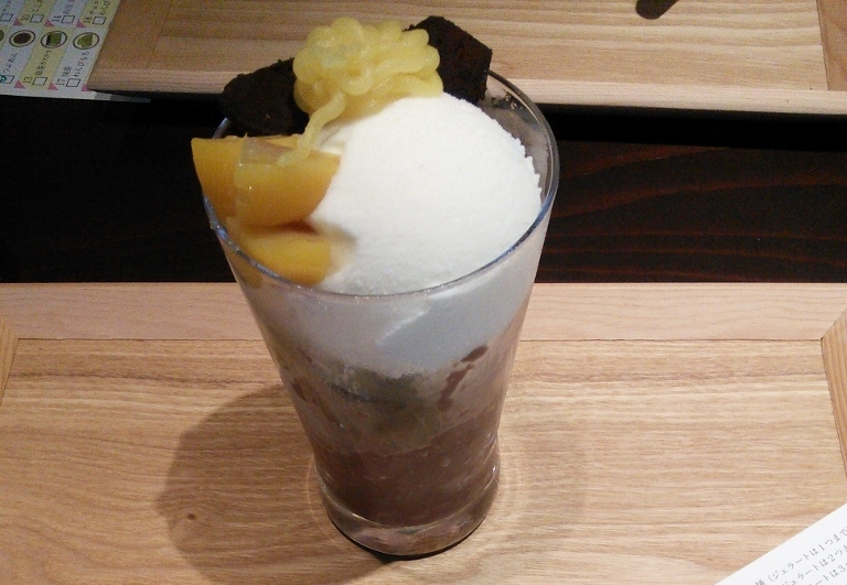 Close-up of Kagurachaka Choco-Matcha Parfait