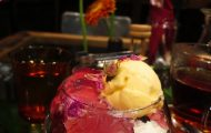 Flower Parfait with pink rose jelly, vanilla ice cream and rose petals on top